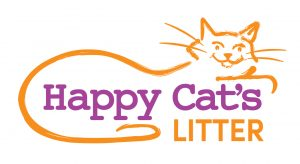 Line drawing of a cat with the text 'Happy Cat's Litter' ... logo